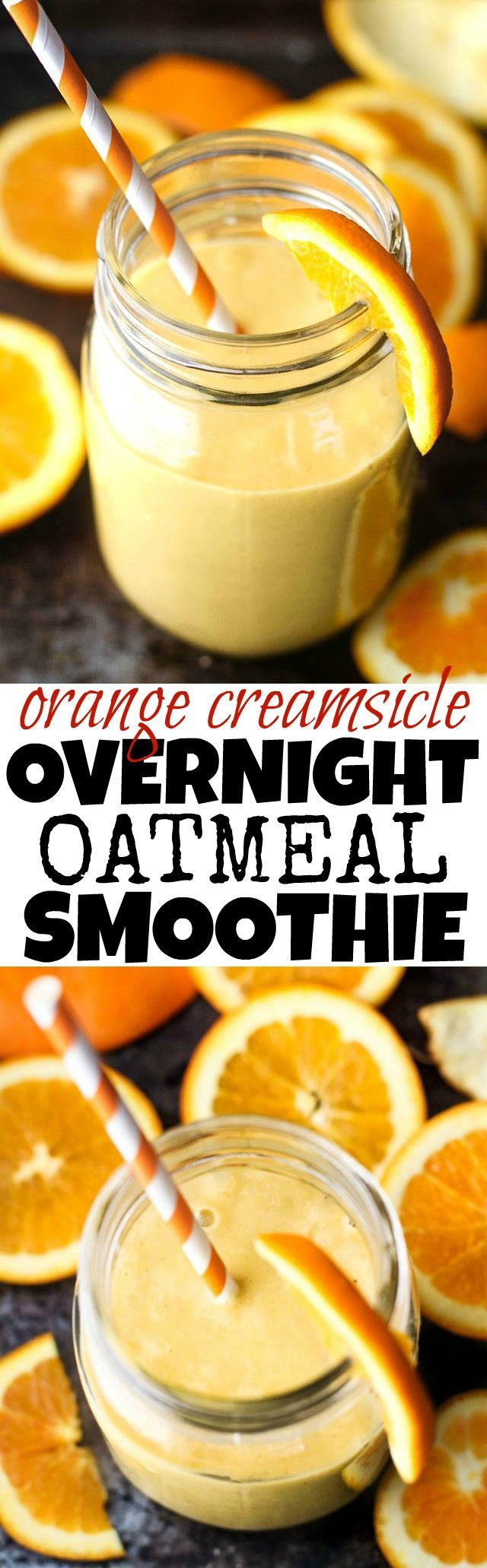 This creamy and refreshing Orange Creamsicle Overnight Oatmeal Smoothie tastes just like a drinkable Creamsicle! Only BETTER because it's vegan, refined-sugar-free, and packed with vitamins!   runningwithspoons... #healthy #recipe #breakfast