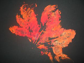 Have children do leaf prints on black paper, it makes the colors and print pop out more. art and soul preschool: Fall projects and themes