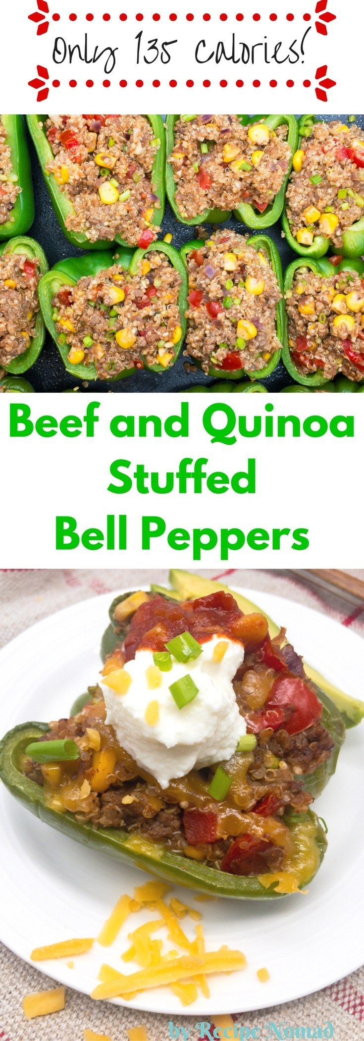 Beef and Quinoa Stuffed Bell Peppers | Recipe Nomad  I'm loving these Low Calorie Beef Quinoa Stuffed Bell Peppers! The quinoa and beef mixture with the Mexican spices and then stuffed in a bell pepper is incredibly delicious!