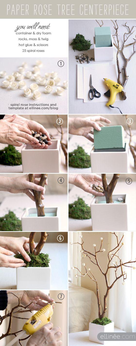 DIY paper rose tree  Cute wedding centerpiece