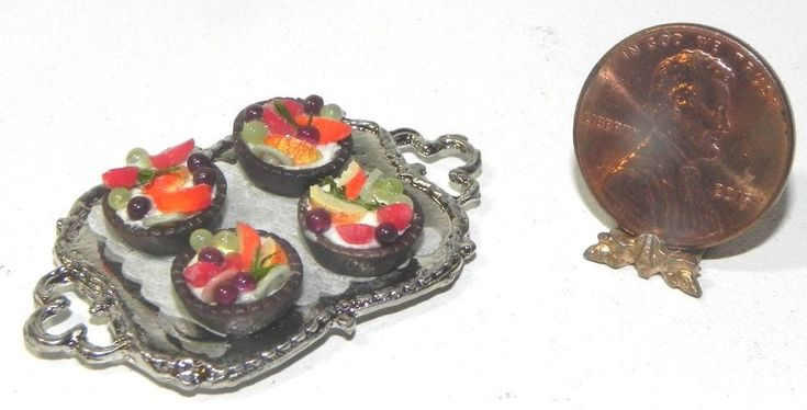 Dollhouse Miniature Chocolate Fruit Cup Dessert Tray Falcon 1:12 Scale #FalconMiniatures