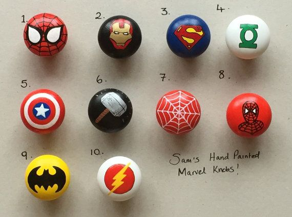 Superhero inspired 40mm Hand Painted Drawer Door Knobs Batman Captain America Thor Hulk Spiderman Various designs available