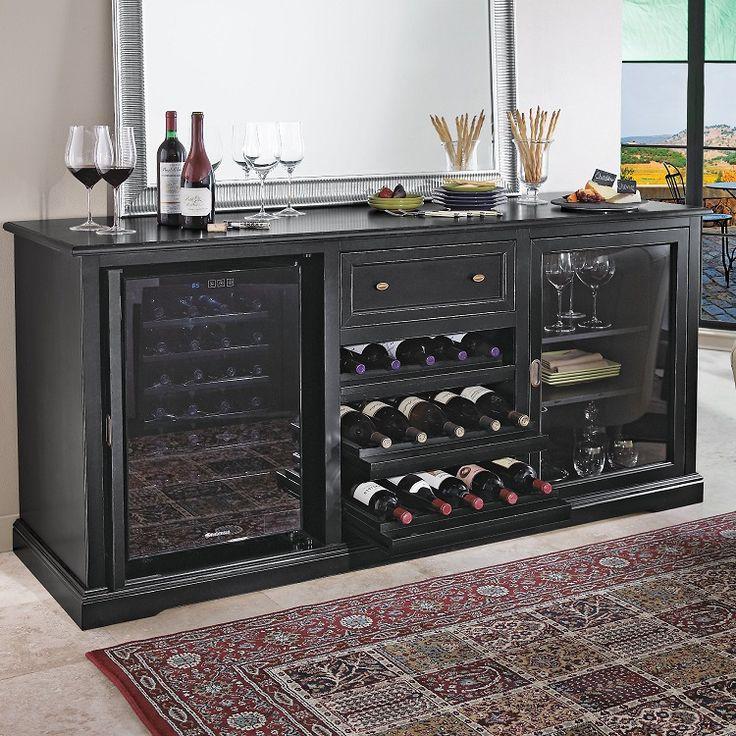 Siena Wine Credenza And 28 Bottle Touchscreen Refrigerator PLUS 1 Free Nero