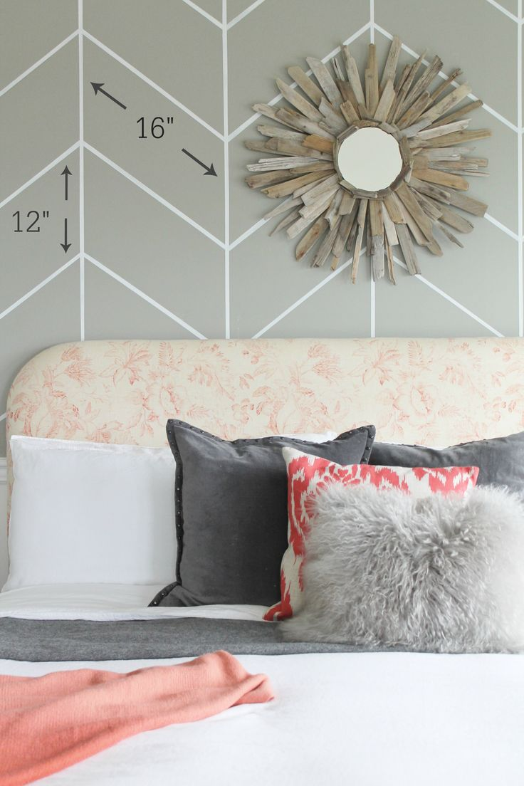 Rustic chic bedroom pinterest - Beautiful Rustic Chic Bedroom With Painted Herringbone Wall See How She Did It All