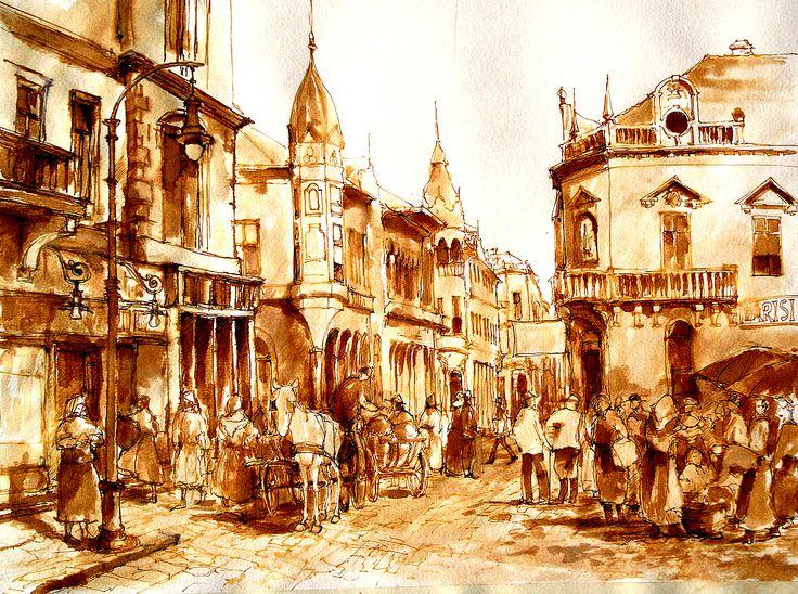 """Szeged a néhai Csekonics """"ma Nagy Jenő utca """" Szeged is the late Csekonics """"today Nagy Jenő Street"""" Tus , diófapác, akvarellpapír 38 x 49 cm"""