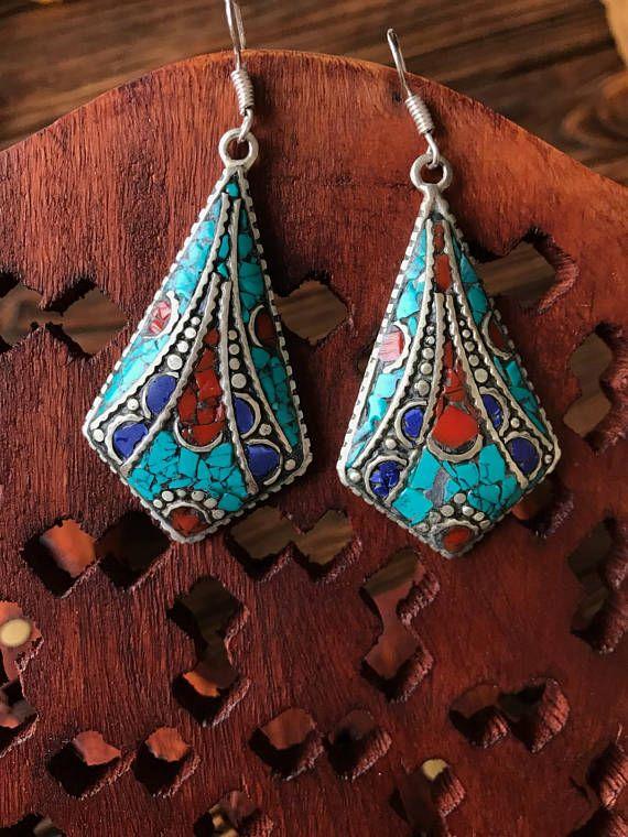 fd189d933 Nepali silver elegant earrings, turquoise, lapis lazuli and coral ethnic  earrings,Boho vintage earrings, Tibetan mosaic jewelry, kite-shaped