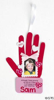 Handprint Valentine Photo frame ornament  Valentine craft ideas for kids