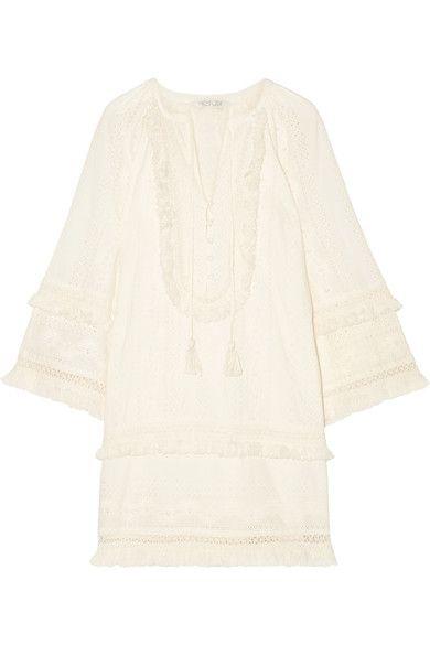 Rachel Zoe - Abigail Fringed Broderie Anglaise Cotton Mini Dress - Cream - US12