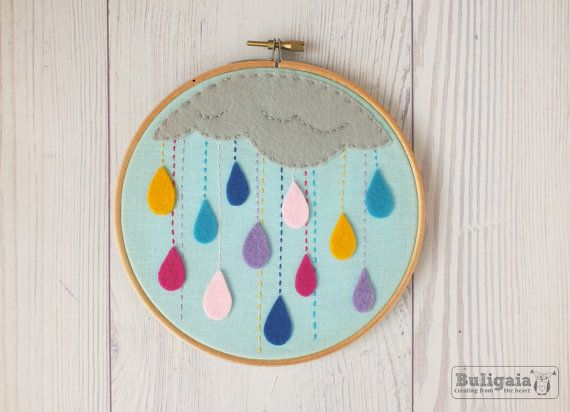 Embroidery hoop art, home decor, wall decor, Rain of colors, colorful rain, color drops Made to order
