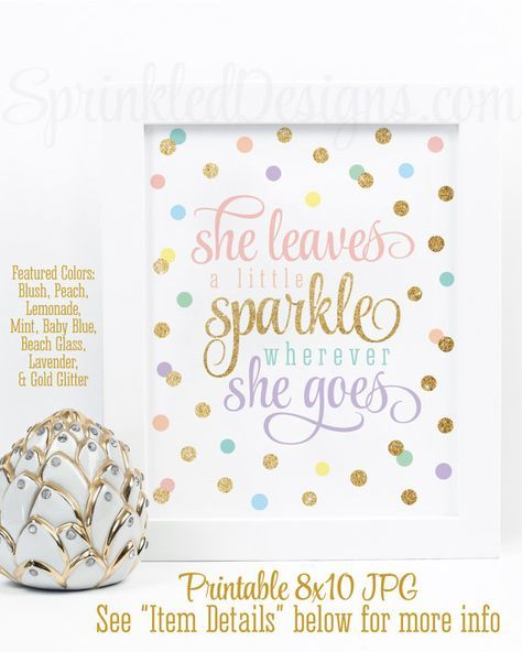 She Leaves A Little Sparkle Wherever She Goes Printable Unicorn Rainbow Birthday Decor, Blush Peach Yellow Mint Blue Lavender Gold Wall Art ★ RE-COLOR/RE-SIZE: https://www.etsy.com/listing/235764069/ ★ PRINTING: https://www.etsy.com/listing/209879690/ ★ RE-COLOR AND PRINT: https://www.etsy.com/listing/236342722/ INSTANT DOWNLOADS ARE FINAL SALES – PLEASE READ CAREFULLY. This listing is for a non-customizable 8x10 high resolution printable JPG file in BLUSH PINK, PEACH, LEMONADE, MINT, BABY…