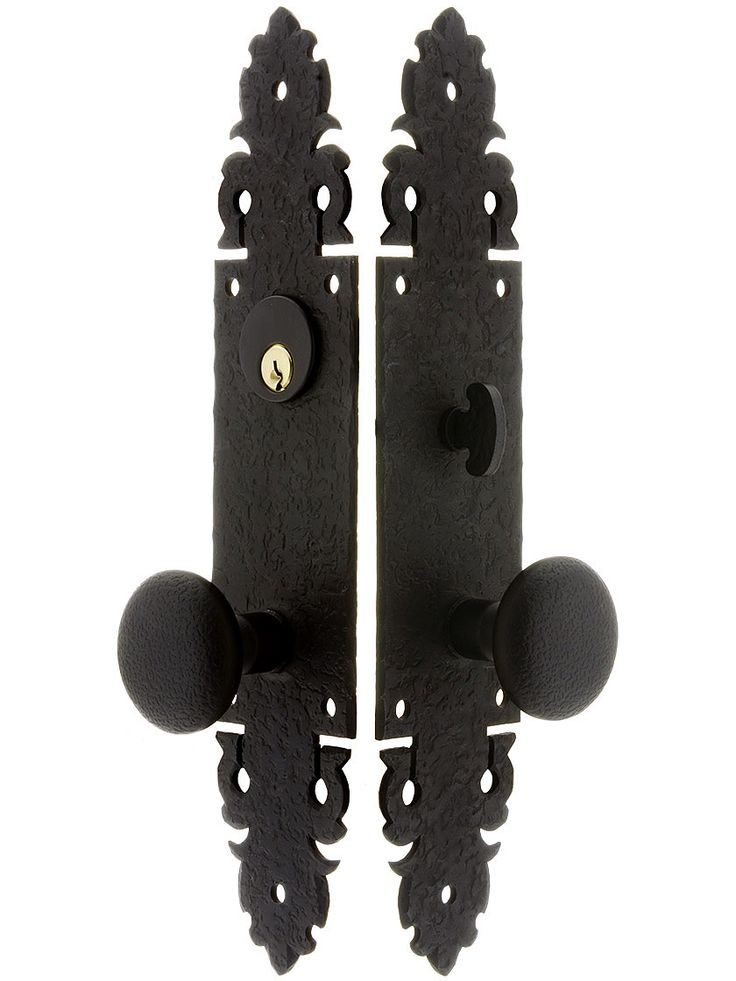 Merveilleux Warwick Long Plate Mortise Entry Set With Black Lacquer Finish