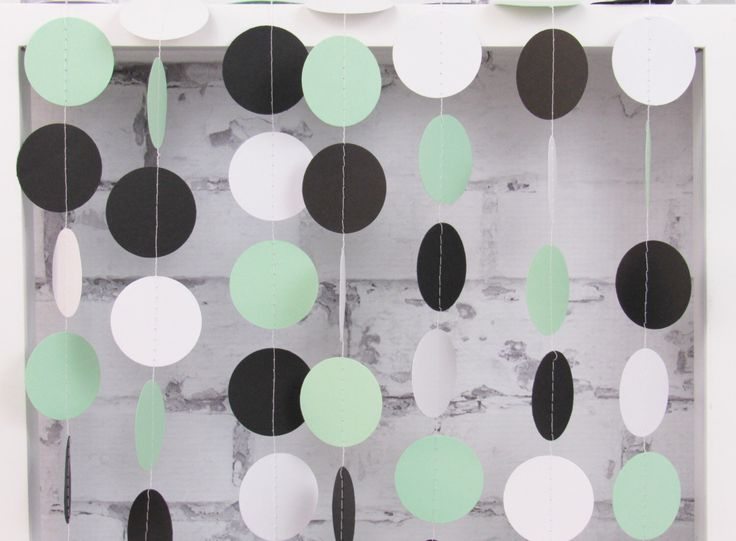 Mint Garland - Mint Black White Party Decor - Black and Mint Bridal Party - Mint Baby Shower by LucyBirdy on Etsy https://www.etsy.com/listing/234480355/mint-garland-mint-black-white-party