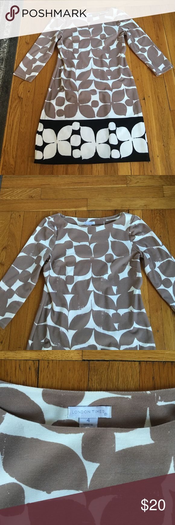 Great condition, beige, white and black dress Unique leaf pattern. Perfect for the office or a night out. London Times Dresses Long Sleeve