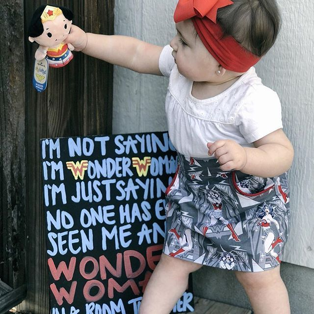Only love can truly save the world!! . . Obsessing over this Wonder Woman skirt from @2lilbuggs && bow from @mimas_bowtique!!. . #lifestyleblogger #babybrandrep #wonderwoman #diysign #custommade #shopsmallbusiness