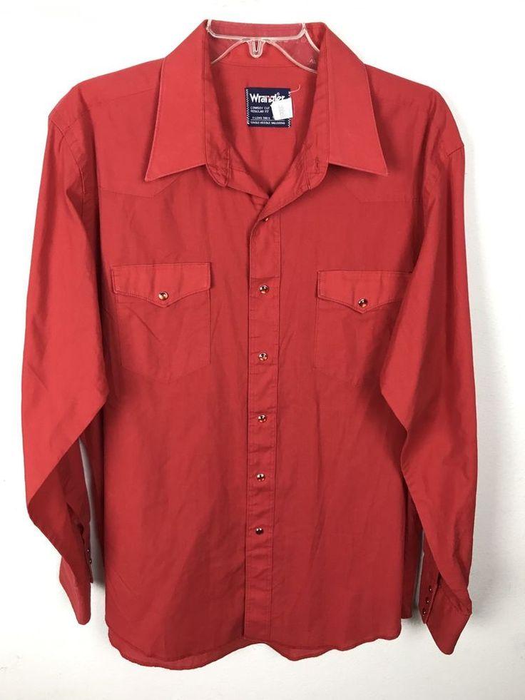Vintage Wrangler Shirt Red Cowboy Cut Pearl Snap Sz XL Cotton Blend Regular Fit #Wrangler #Western