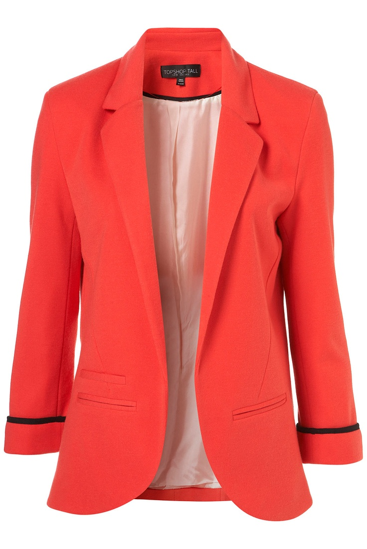 Love the red/coral color: Coral Blazers, Red Blazers, Topshop Blazers, Fashion Style, Pont Blazers, Colour Blazers, Colors Blazers, Red Jackets, Bright Blazers