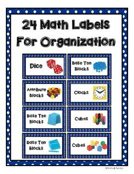24 Math Labels for Organization