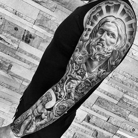 a look at some black and grey tattoos, rose tattoo, religious tattoos, greek statue tattoos, sleeve tattoos and skull tattoos. More