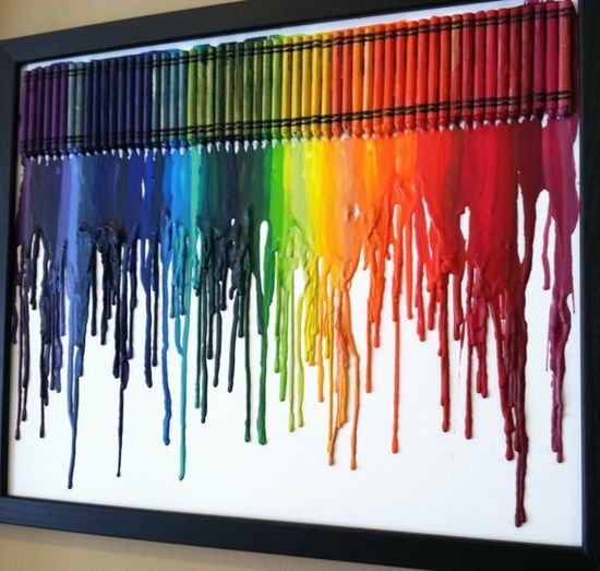 crayons in summer!!!this would be a cool thing to do with your kids in the summer. so fun for them too see them melting. and how amazing does it look.