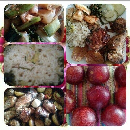 ALMUERZO DE HOY : pollo al horno al chimichurri y salvia con papas y ñame; risoto con caldo de pato,  puerros panceta salada; picles de pepino a la vienesa y kimchi de puchú(brotes de ajo). BEBIDA : vino tinto malbec argentino. POSTRE : ciruelas   By Chef Adrian Riancho Costa