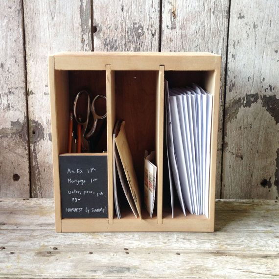 Poste Box  Reclaimed Wood Desk Organizer for Letters by PegandAwl, $68.00