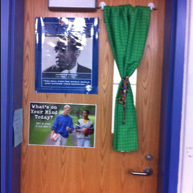 Classroom Hook Ideas : I created a curtain for my classroom door out of command