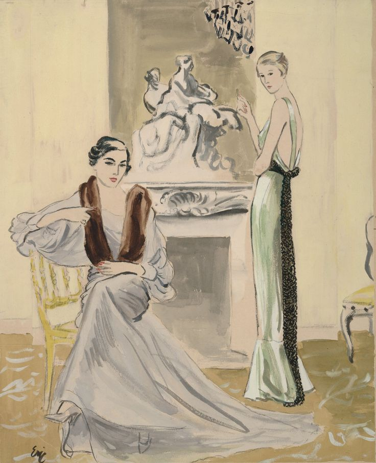 A grand carved fireplace serves as a backdrop to Augustabernard and Schiaparelli dresses in this 1933 illustration from Carl Oscar August Erickson.