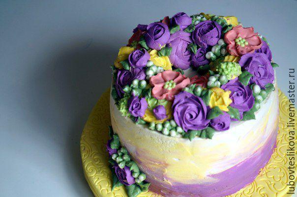Купить Торт с кремовыми цветами - комбинированный, торт, кремовый торт, торт на заказ