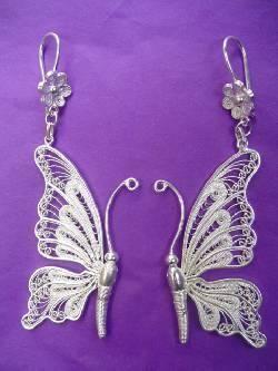 Fijn zilver handwerk uit Colombia  Oorbellen, vlinder