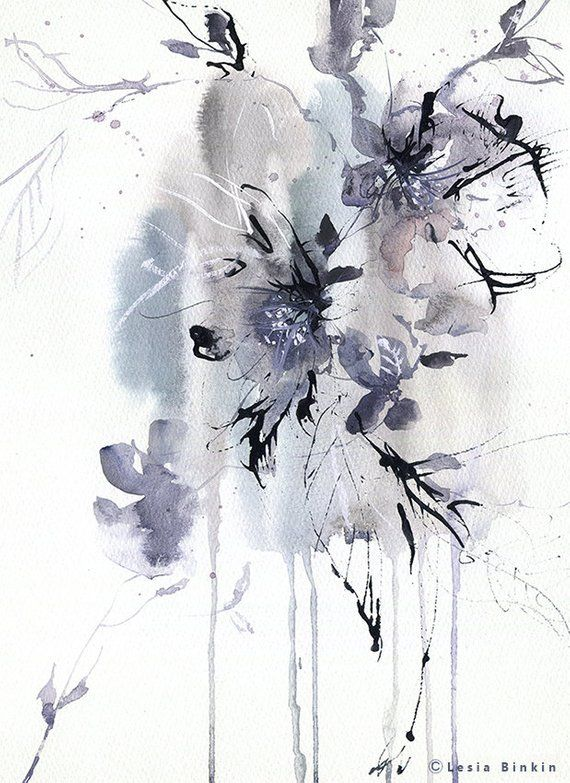 Abstract Flower Painting Watercolor Art Print Wall Decor Ideas