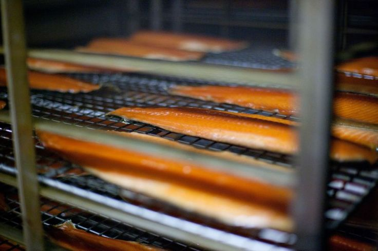 9th step of the smoking process:  Now that looks well smoked! Our Burren Smoked Irish Salmon sides are ready to come out of the kiln. They will then have to sit  on the trolleys for a day to let the smoke do its magic.