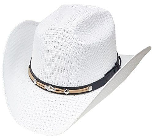 3cee4300f09 Modestone Unisex Straw Cowboy Hat Leather-Like hatband White  3100N straw  cowboy hat   Leather-Like Hatband With elastic sweatband for a comfortable    snug ...