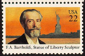 July 18, 1985: Frederic Auguste Bartholdi Commemorative stamp (sculptor of Statue of Liberty - copper sheathing)