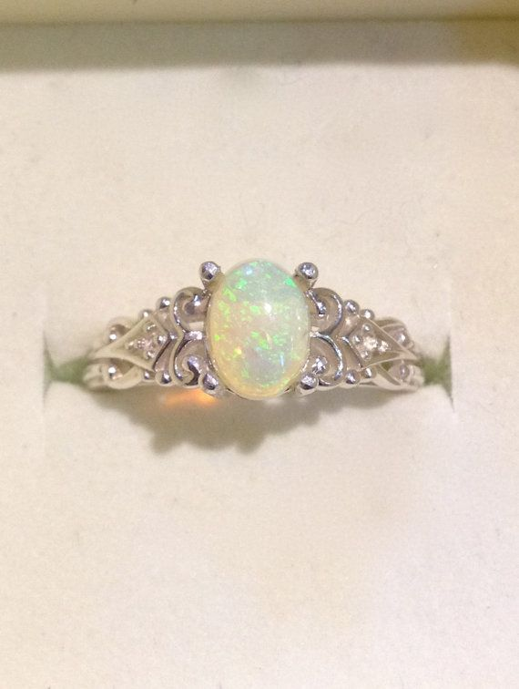 Australian Green Yelow Opal Vintage Style Silver Ring with Diamonds    This Genuine Australian Opal has brilliant Yellow-Green Color Flashes - easily