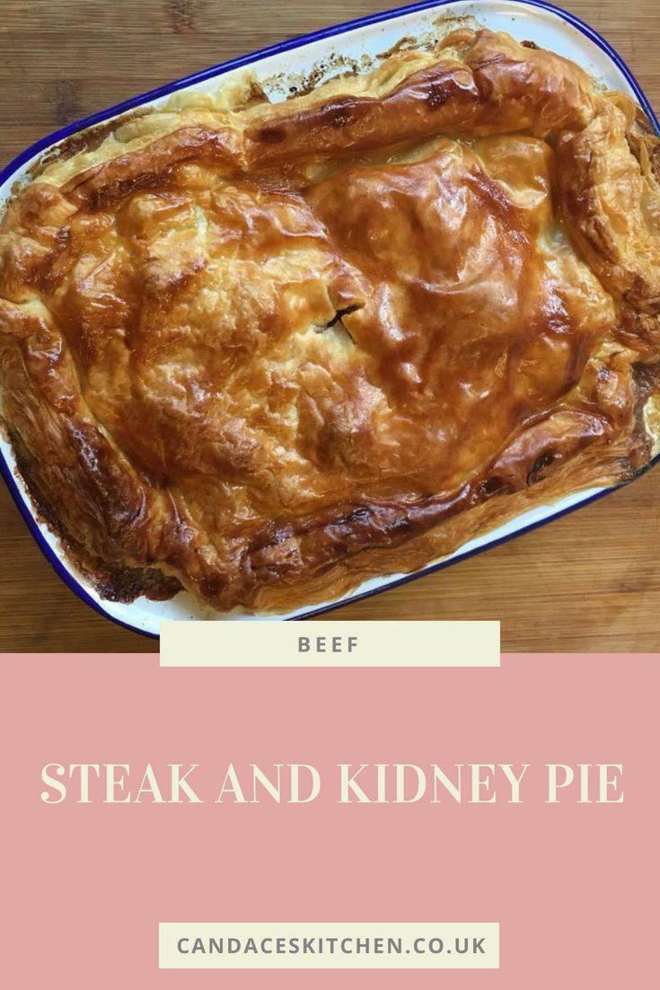 Homemade steak and kidney pie with puff pastry topping ...