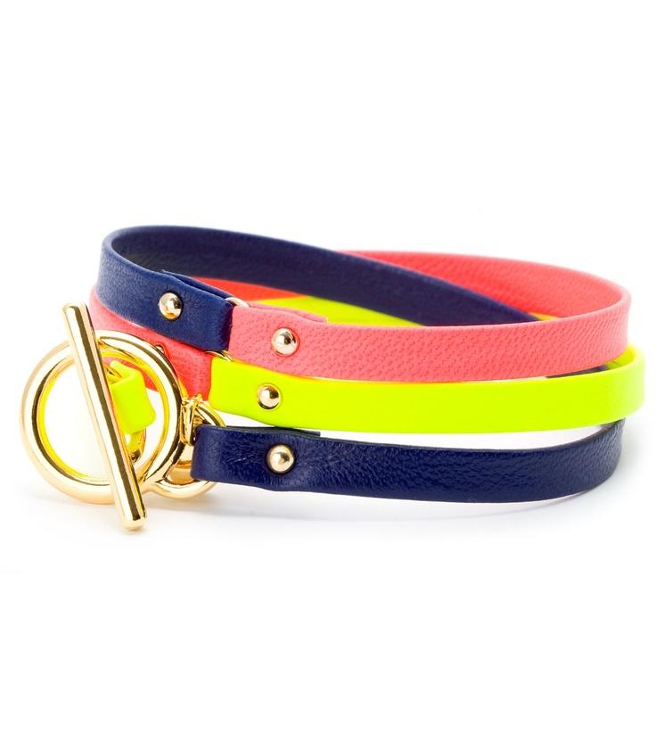 Leather Tri-Color Bracelet: Tricolor Bracelets, Wrap Bracelets, Jewelry Bracelets, Navy Coral, Tried Colors Wraps, Leather Wraps Bracelets, Neon Yellow, Bracelets Blue, Leather Bracelets
