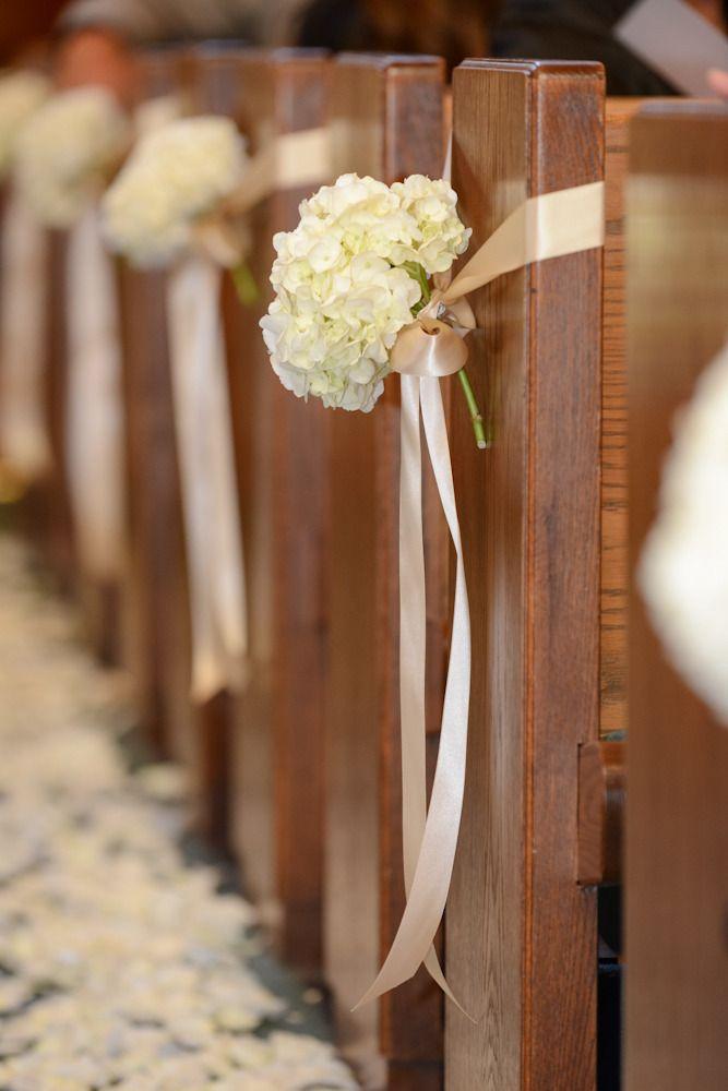 simple pew flowers a single hydrandrea head and satin ribbon.  Consider on every other pew/