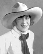 """""""Rodeo's First Lady,"""" they called her. Born in Nebraska, and youngest of 24 children, Tad began riding almost before she could walk, and by age 13 was earning cash prizes riding wild calves at rodeos in Cody, Wyoming. Tad was the only woman ever to ride a Brahma bull in New York's Madison Square Garden.Tad was Champion All-Around Cowgirl & World Trick Rider. Tad was honored by the National Cowgirl Hall of Fame, National Cowboy Hall of Fame and Professional Rodeo Cowboys Association."""