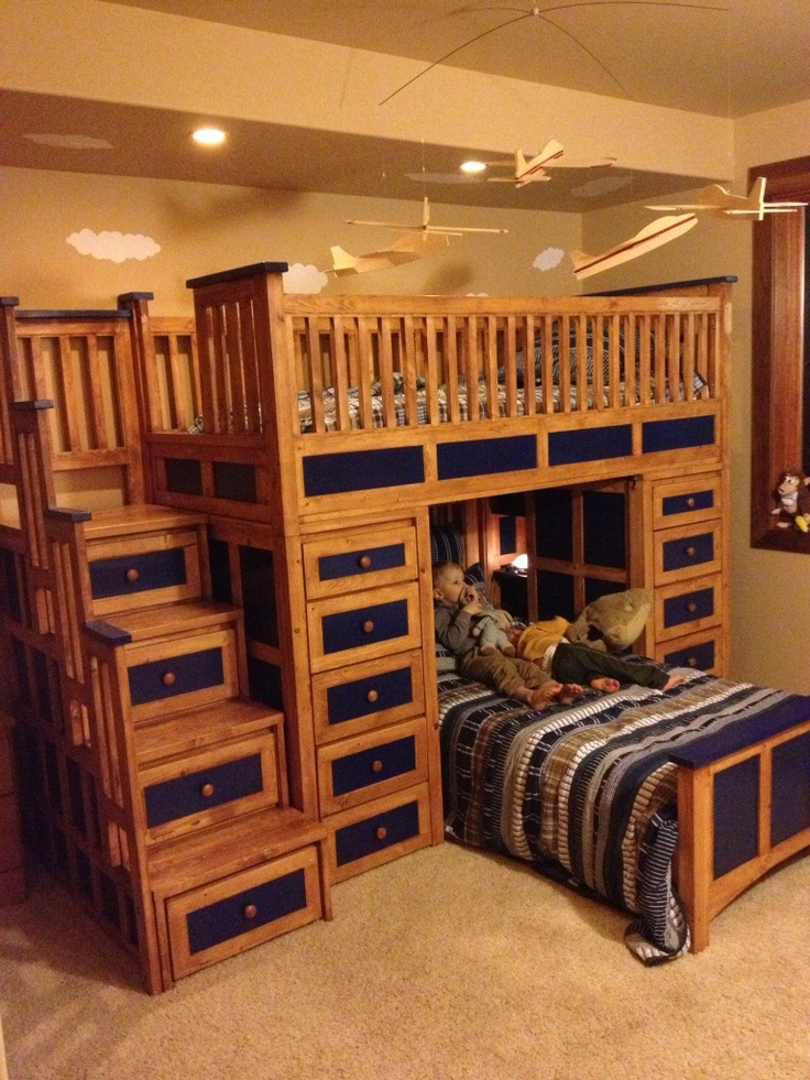 large loft bed solid wood pine stained in our medium shade with blue stained accents i really need this for my boys rm - Medium Hardwood Kids Room Interior