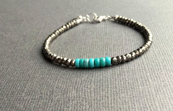 Pyrite and Turquoise Bracelet Green Turquoise by AlaskaDaisy