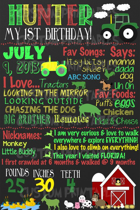 Tractor farm theme birthday party - great for 1st birthday party, custom chalkboard farm animals, john deere FREE 8x10 on Etsy, $24.00