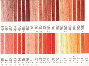 コスモ刺繍糸 刺しゅう糸#25番糸 オレンジ色系