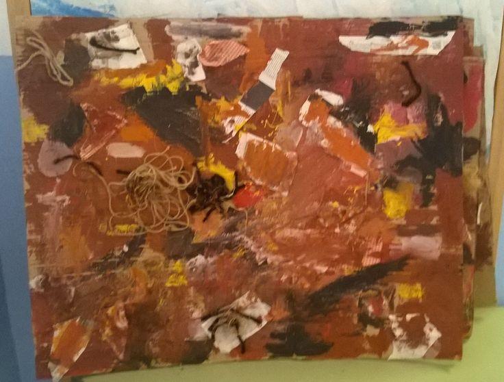 Quadre col·lectiu. Fet amb pintura. Sorra. Cordills. Llana. Trossos de roba. Paper de diari. Escola Miquel Martí i Pol Sabadell