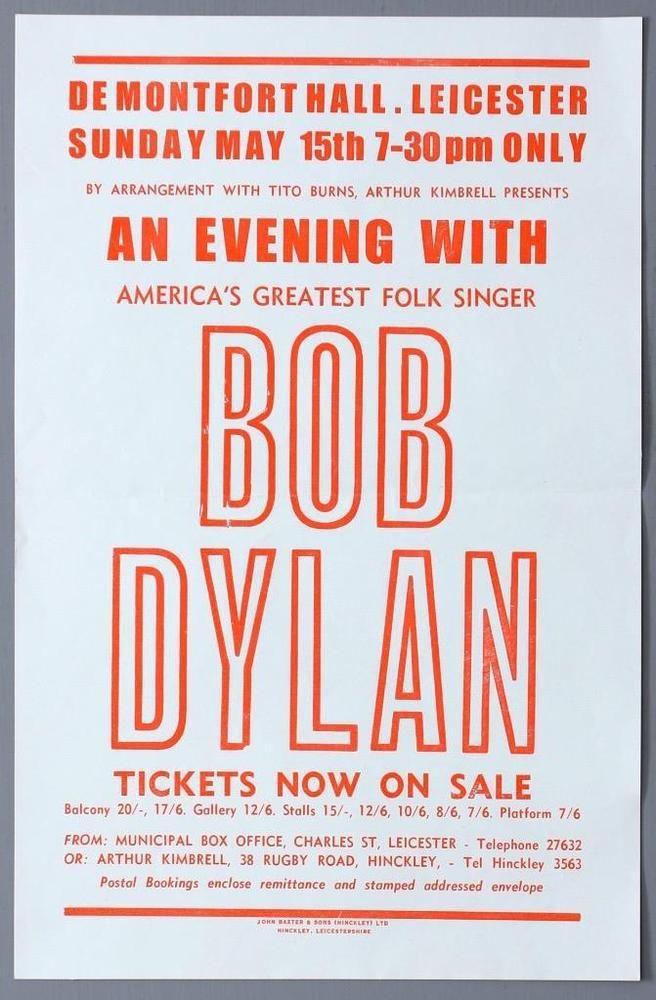 BOB DYLAN - rare original Leicester De Montfort Hall 1966 concert handbill