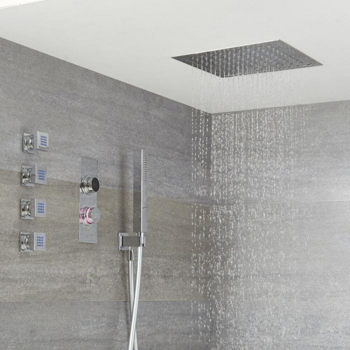Milano Vis Modern 3 Outlet Digital Thermostatic Shower 280mm Square Recessed Shower Head Handset And Body Jets Shower Heads Bathroom Designs Images Shower Systems