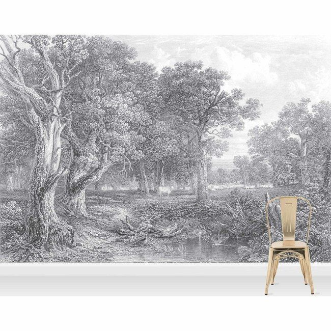 Holy Cow Etched Vintage Wall Mural Grey Decor Ideas