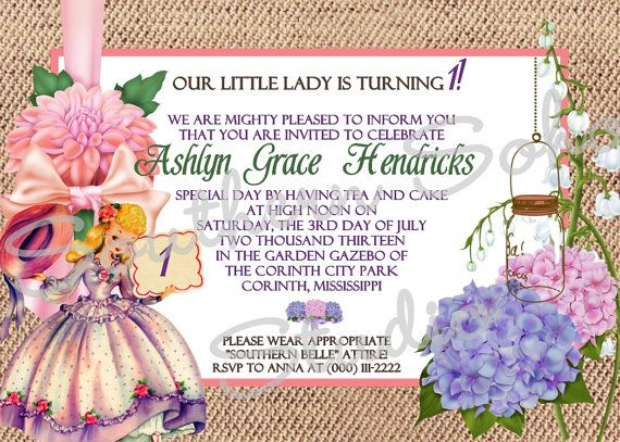 Southern Belle Party Invitations  Set of 10 by SouthernSohoStudio