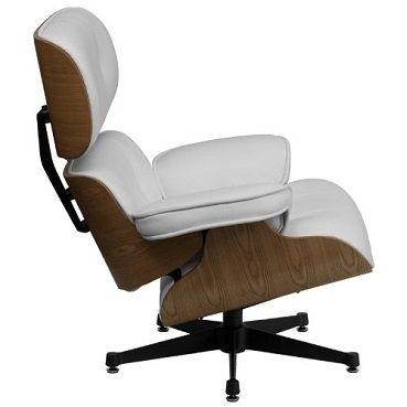 eames style top grain white leathersoft lounge chair and ottoman set w