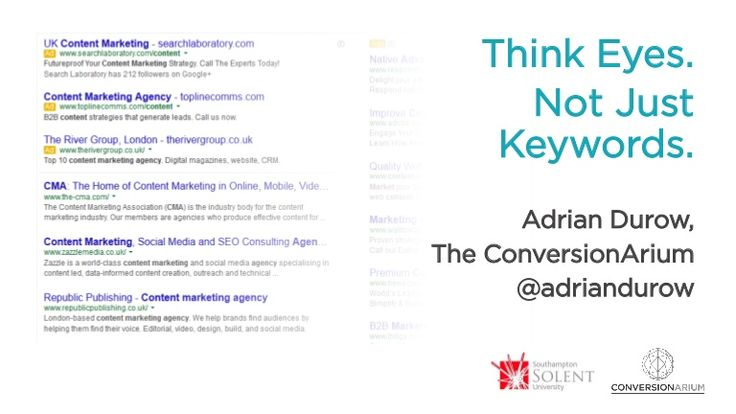 Think Eyes... Not Just Keywords #BrightonSEO 2014 by Adrian Durow -