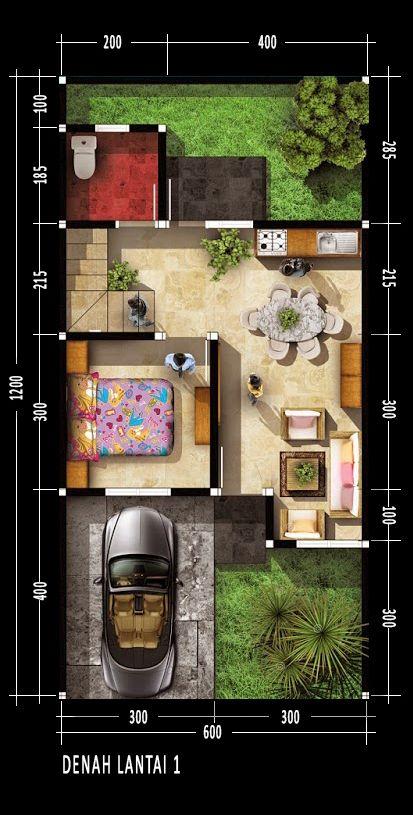 Denah rumah dua lantai dengan luas lahan 148m2   Luas total bangunan 70m2  Ukuran tanah 6m x 12m  Luas Lahan 72 meter2  Area terbangun Luas 40 m2  Desain minimalis   Desain rumah kita kali ini memiliki satu pintu utama sebagai akses masuk dan satu pintu untuk mengakses taman di belakang rumah. di lantai satu bangunan terdapat sebuah kamar tifur, ruang tamu, dapur, ruang multi dan kamar mandi. Daerah di belakng rumah masih terdapat area kosong yang di gunakan sebagai taman yang cukup luas…